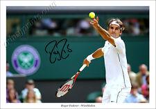 ROGER FEDERER firmato POSTER STAMPA FOTO AUTOGRAFO Tennis Wimbledon Djokovic