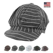 Womens Mens Spring Summer Stripe Jean Gatsby Newsboy Cabbie Golf Cotton Cap Hat