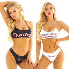 Sexy Women Bikini Mini Camisole Bra Crop Tops Briefs Yes Daddy Printed Underwear