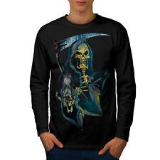 Cráneo de muerte tiempo Reaper Hombre Manga Larga T-shirt new | wellcoda