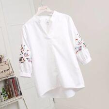coton pour femmes chemise tunique col V brodé 3/4 manche en vrac décontracté