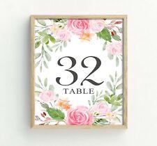 Darling Souvenir Numbers Floral & Leaf Reception Table Place Cards-DS-JSTN15