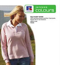 POLO RUBGY FEMME Manches longues ROSE Tailles : S, M, L et XL