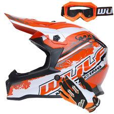 Wulfsport Kids Motocross Helmet Cub Pro + Wulf Gloves Goggles Orange MX Off Road