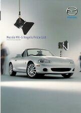 Mazda MX-5 Angels Limited Edition Price List 2003 UK Market Leaflet Brochure