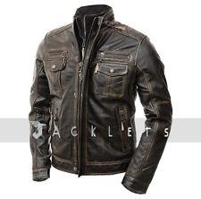 Mens Motorcycle Biker Slim Fit Vintage Distressed Cafe Racer Real Leather Jacket