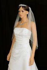 Handmade 1 Tier Bridal Wedding Veil White / Ivory Elbow Length Beaded Edge