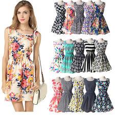 Fashion Summer Sleeveless Patterned Sundress Evening Dinning Dress UK 6-14 1138