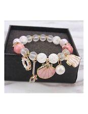 Seashell charms summer bracelet dangle bangle stretch fish pink blue glass beads