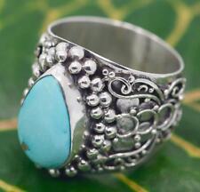 Handmade Solid 925 Sterling Silver Bali Swirl Genuine Larimar Teardrop Dome Ring