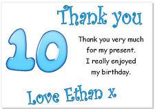 10 Personalizado Tarjetas de Agradecimiento & Envs, gracias Cumpleaños edad 10 fiesta chicos diez
