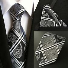 T006 black plaid paisley men 100% silk neck tie set Handkerchief & Ties for suit