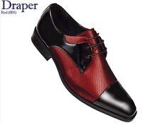 Mens AMALI Red Fishnet Tuxedo Oxford Dress Shoe Black Patent Cap Toe Draper-005