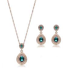 Fashion Women Rhinestone Crystal Pendant Necklace Chain Earrings Jewelry BDAU