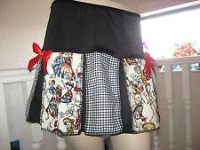 New Black white red skeleton check skulls Pleated Party Skirt Goth Rock Festival