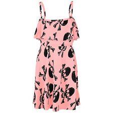 Kids Girls Skater Dress Skull Print Summer Party Pink Off Shoulder Dress 5-13 Yr