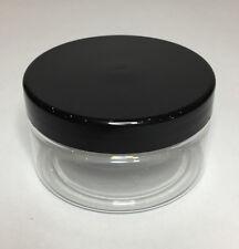Empty 100ml Clear Plastic Jar With Black Plastic Screw On Lid. Quality Jar & Lid