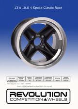 "Revolution 4 spoke Classic Wheels - Black - 4 Stud 5.5/6/7/8/9/x13"" Diameter"