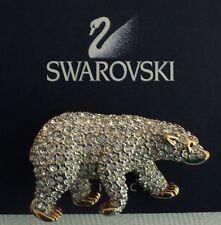 Signed Swan Swarovski Pave Coca Cola Bear Brooch Pin