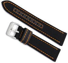 20mm Hadley Roma Black Orange Stitched Genuine Kevlar Mens Watch Band 848