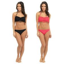 Womens Halter Neck / Strapless Bikini Set With Tassels Bandeau Top Ladies Size