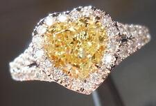 .79ct Heart Shape Fancy Yellow SI2 Diamond Halo Ring R4168 Diamonds by Lauren