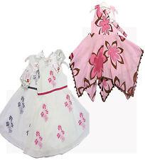 Robe designer de luxe fille rose & fleur marron ou blanc + bleu ou rose 2-7 ans