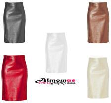 Women Female Original Lambskin Leather High-Waist Rise Pencil Knee Length Skirt