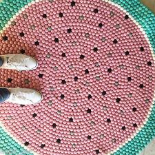 Water Melon Color design Felted Carpet Felt Balls Rug Round Shaped Handmade Mat