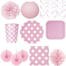Puntos Fiesta Rosa Bebé 1. Cumpleaños Decoración Platos Desechables Vajilla de