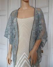 DOVE GREY LACE Kimono Wrap Wedding Evening Shrug Bolero Jacket.. Sizes 8 - 24