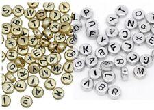Lettera Alfabeto Perline Rotonde Spacer Distanziatori Oro e Argento 7 mm 50/100/200/500