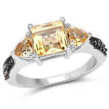 Weding Ring 925 Sterling Silver 2.61 Ct Genuine Citrine & Champagne Diamond