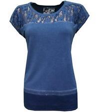 No Secret Oversize Shirt Damen Spitze Pailletten Blau für Mollige kurzarm