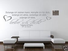 Wandtattoo Wohnzimmer Schlafzimmer  Spruch so lange liebe ich dich mit Name pk31