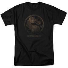 Mortal Kombat X Fighting Video Game Metal Grate Dragon Logo Adult T-Shirt Tee