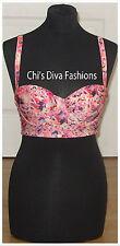 ASOS Exclusive Fuller Bust Kaleidoscope Floral Longline Bikini Top Size 32DD