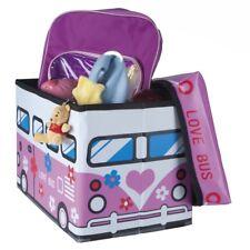 Pouf pliable Coffre à jouets pour enfants Happy bus rose