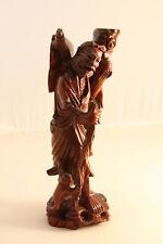 Vintage Japanese Asian Hand Carved Man Figurine Statue Teak Wood