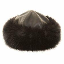 Quality Ladies Cossack Faux Leather Fur Trim Hat 2 sizes fast post
