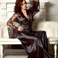 Ladies Women's Sexy Sleepwear Lace Dress Long Bathrobe Night Gown Robe 8C