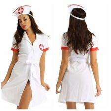 Adult Women Sexy Nurse Lingerie Costume Cosplay Button Down Uniform Fancy Dress