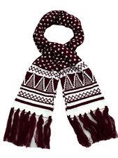 Mujer Acrílico Rojo Oscuro Diseño Azteca bufandas. Navidades Idea Regalo