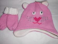 Arizona Toddler Girls Knit Critter Cat Face Hat + Mittens Begonia 2-4T NWT