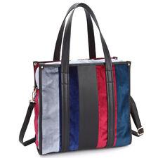 New Womens Handbag Faux Leather Velvet Multi-Colored Tote Bag Shoulder Bag Purse
