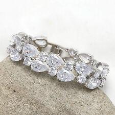 Platinum Plated Cubic Zirconia CZ Bridal Bracelet Christmas Birthday Gift