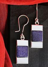 Echte 925 Silber Ohrhänger mit Blaufluss, BLAU inkl. Schmucketui