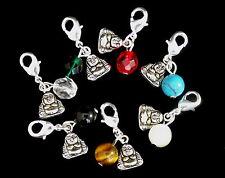 Mini Lucky Buddha & Bead - Clip on Charms for Bracelet - Tibean Silver, Gemstone