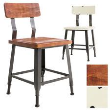 Chaise de bistro TILL– assise et dossier bois, look indutriel, piétement métal
