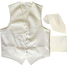 New Men's cream formal vest Tuxedo Waistcoat_necktie & hankie set wedding